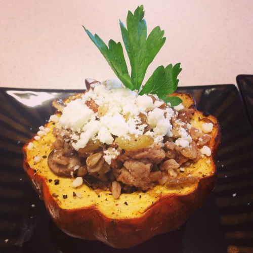 Farro and turkey sausage stuffed acorn squash